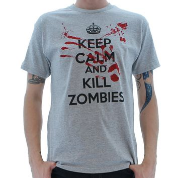 Keep Calm and Kill Zombies Mock Propagada T-Shirt Large