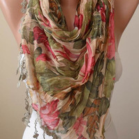 New - Colorful Linen Scarf  with Trim Edge