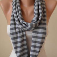 New - Mother's Day Gift - Dark and Light Gray Striped Infinty Scarf  - Circle -  Loop Scarf - Combed Cotton Fabric