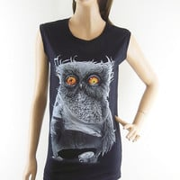 Owl Yellow Eyes Owl Design Owl Tank Tops Women T-shirt  Black T-Shirt Screen Print Size S