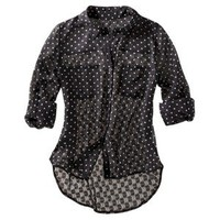 Xhilaration® Juniors Printed 3/4 Sleeve Top - Black/Ivory Dot