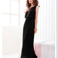 Black Women's Bohenmia Pleated Cocktail Evening Princess Chiffon Long Dress M