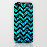 Chevron Aqua Sparkle (Not Real Glitter) iPhone & iPod Skin by M Studio
