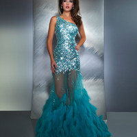 Mac Duggal Prom 2013 - Aqua One Shoulder Sequin Mermaid Prom Dress - Unique Vintage - Prom dresses, retro dresses, retro swimsuits.