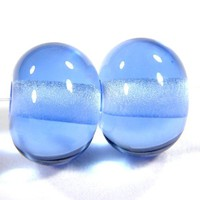 Shiny Transparent Light Blue Handmade Lampwork Glass Beads Glossy Bead