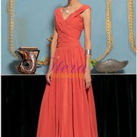 Ruffles Empire Dual Straps V-Neckline Floor Length Orange Evening Dress