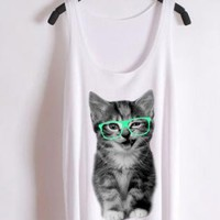 Nerdy cat -green glasses--the tank