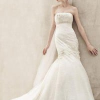 Lace Fit and Flare Gown with Floral Details - David's Bridal - mobile