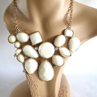 White Color Bubble Necklace,Mint J.Crew Inspired Bubble Necklace With Gold Tone Chain Bib Necklace Statement Necklace