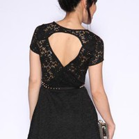 Black Lace Dress with a Belt