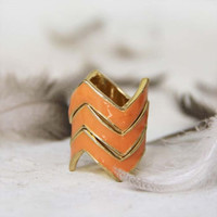 Stacked Chevrons Ring in Peach, Sweet Bohemian Jewelry