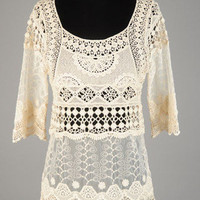 3/4 Sleeve Crochet Ivory Top! | Bellum&Rogue