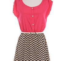 Pink Belted Chevron Bottom Dress | Bellum&Rogue