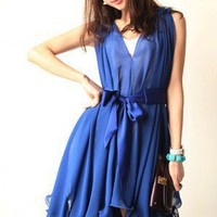 Pretty Lady. Royal Blue Chiffon Sleeveless Dress. Romantic Wavy Hem | GlamUp - Clothing on ArtFire