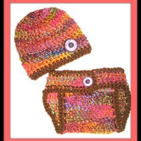 Rainbow Bold and Brown Baby Diaper Cover and Baby Hat Set-  Baby Shower Gift, Ready to Ship