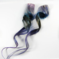 SEA FOAM / Human Hair Extension /  Purple Blue Green / Long Tie Dye Colored Hair