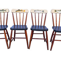 One Kings Lane - A Vintage Marine Mood - Fish-Motif Side  Chairs, Set of 4