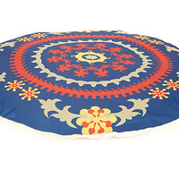 One Kings Lane - Pet Picks - Round Suzani Dog Bed, Navy