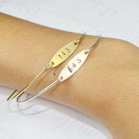 Pair 143 Love Bangle Bracelet, Silver Or Gold Stackable Bangle, Numerical I Love You Jewelry, Mother Daughter, Sisters, Best Friends