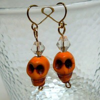Orange Magnesite Skull Earrings Dia de los Muertos or Day of the Dead