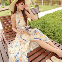 Sexy Split Backless Blue Orange Floral Chiffon Sundress. Maxi Dress