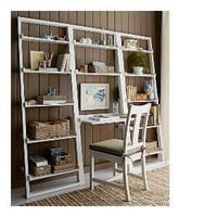 "Sloane White Leaning Desk with 2 25.5"" Bookcases"