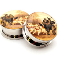 Cats in a Carraige STYLE 2 Picture Plugs gauges - 8g, 6g, 4g, 2g, 0g, 00g, 7/16, 1/2, 9/16, 5/8, 3/4, 7/8, 1 inch