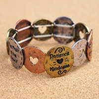 Love Joy and Peace Bottom Shape Stretch Bracelet