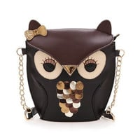 Vintage Contrast Color Owl Shoulder Bag