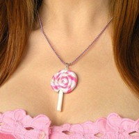 Sweet Pink and Purple Lollipop Necklace | BabyLovesPink - Jewelry on ArtFire