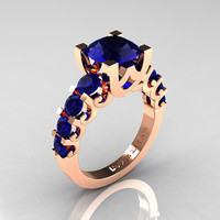 Modern Vintage 14K Rose Gold 3.0 Carat Blue Sapphire Designer Wedding Ring R142-14KRGBS