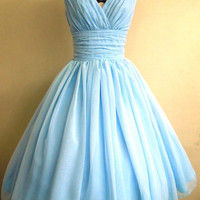 Simple and elegant 50s style dress. Light Sky Blue chiffon overlay, flattering for all sizes