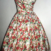 A pretty Floral Cotton Rock ability 50s cocktail dress one of a kind 38 bust