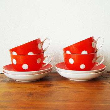Polka dot tea set Soviet vintage USSR Elegant coffee cups Kitchen