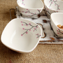 Sakura Design Hand Painted Cold Platter set of 4 Ceramic Little Bowls and Wooden Stand shabby chic,rustic, country style kitchen.