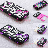 Zebra Rugged Rubber Matte Hard Case Cover For iPhone 5 5G 6th Stylus Screen Film