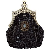 Amazon.com: Black Antique Victorian Applique Plated Brooch Beaded Clasp Purse Clutch Evening Handbag w/2 Detachable Chains: Clothing
