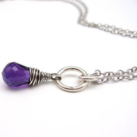 Amethyst Gemstone Briolette Pendant, Tornado Wrap, Sterling Chain