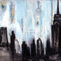 New York Skyline Fine Art Print Original Mixed by citygirldesigns