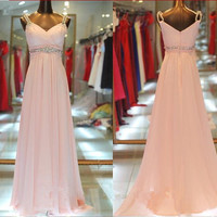 Spaghetti straps sleeveless pink chiffon crystal sashes beading long prom dress