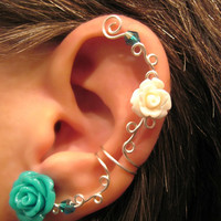 Non Pierced Cartilage Cuff  &quot;Roses are Multi-Colored&quot; Ear Conch Cuff Color Choices Wedding Prom Quinceanera