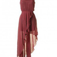 LOVE Berry Crinkle Asymmetrical Maxi - Love