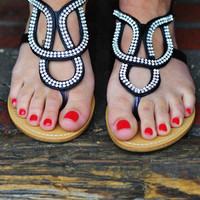 Follow My Lead Sandals: Black/Silver | Hope's