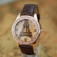 Eiffel Tower Watch, Fashion Wrist Watch Brown Artificial Leather Watch, Retro Style Women&#x27;s Watch, Everyday Wrist Watch PB0175
