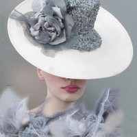 Cream and Dove Grey Sequined Silk Saucer Hat by NataliLouise