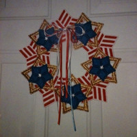 Plastic Canvas Star and Stripes Wreath