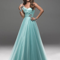 Sea Mist Tulle Empire Waist Feather Strapless Prom Gown - Unique Vintage - Prom dresses, retro dresses, retro swimsuits.