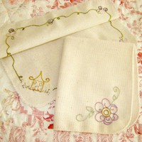Basket Liner Set Hand Embroidered Cotton Linen Lavender Flower Cottage