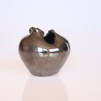 Small handmade silver glazed ceramic vase