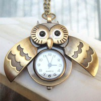 Retro Copper Open Wing Owl Pocket Watch Necklace Pendant Vintage Style - lolobu